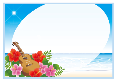 Ukulele and hibiscus flowers on the beach 2