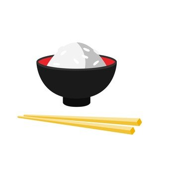 A cup of rice and chopsticks