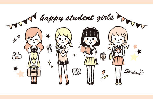 Uniform girl Hand drawn illustration set