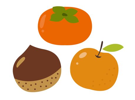 Autumn fruit (pear, chestnut, persimmon)