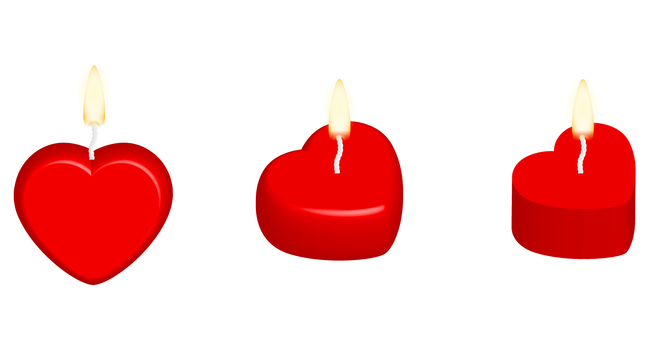 Heart type candle (red)