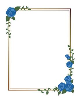 Diagonal frame of blue rose · Decorative frame length 01