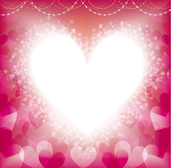 明るいピンクのハート正方形フレーム