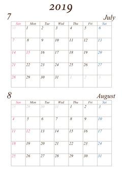July - August 2019 A4 calendar