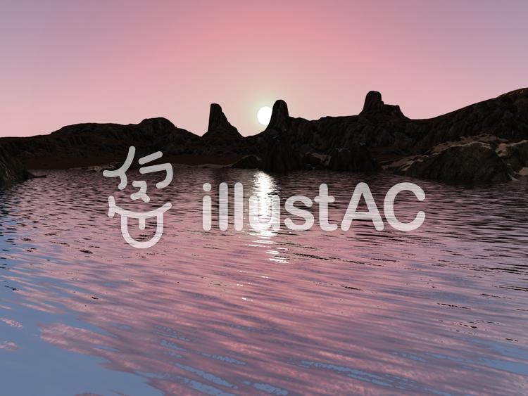 夜明けの湖のイラスト