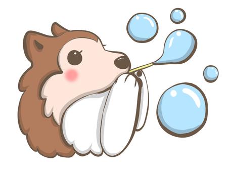 Dog making soap bubbles