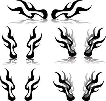 Flame silhouette set