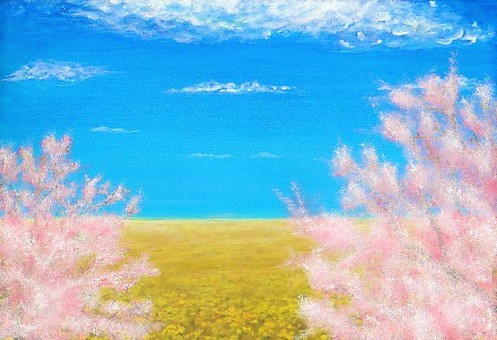 Rape flower field and cherry tree