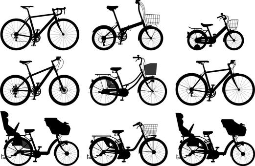 自転車  サイクル  シルエット セット