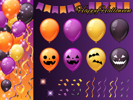 Vertical glitter background with halloween balloons