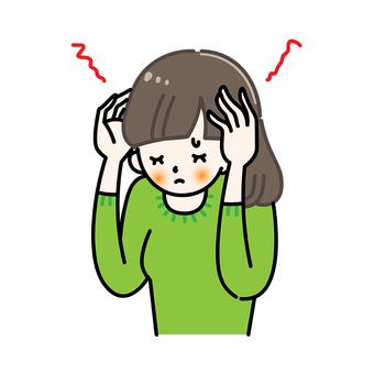 Headache Migraine Painful cold sore woman