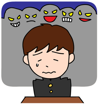 Illustration of a boy meeting bullying