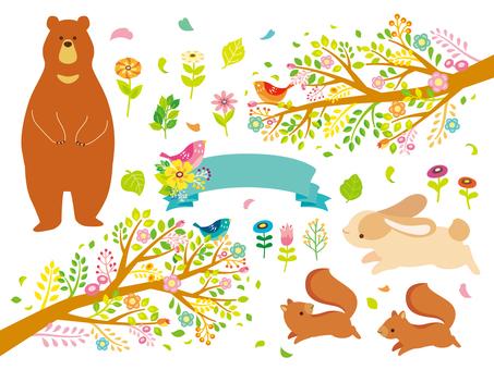 カラフルな自然と動物のイラスト