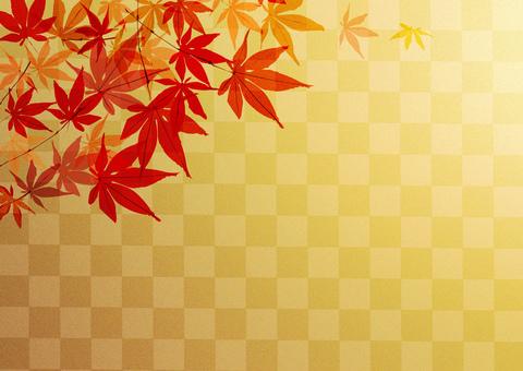 Red leaf _ lattice _ gold foil _ background
