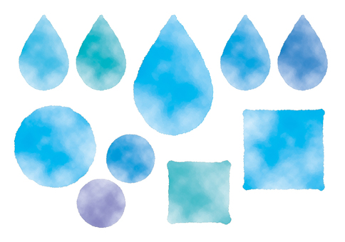 Handwritten style watercolor water drops new