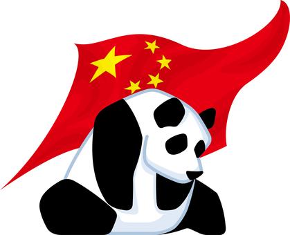 パンダ 中国国旗