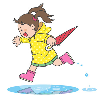 Girl in raincoat illustration