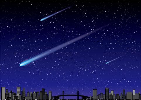 도시의 빌딩 군의 밤하늘에 흐르는 혜성 유성