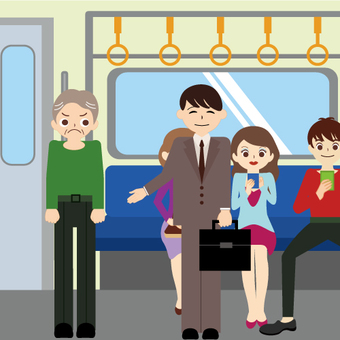 Electric train (elderly people who are angry with their seats)