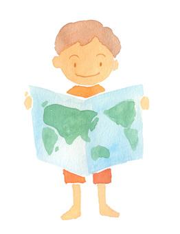 World map and children