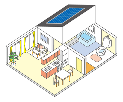House illustration with solar panel