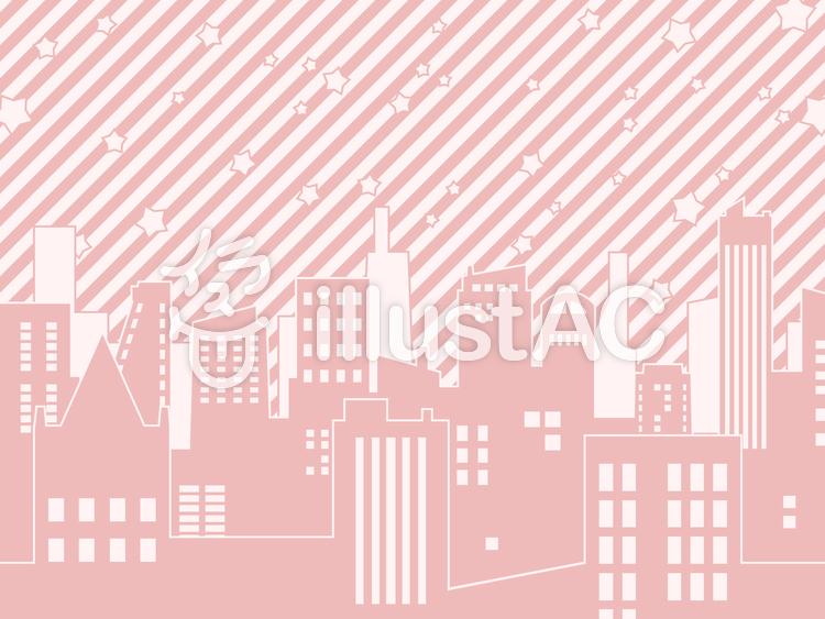 ビルと星(ピンク)のイラスト