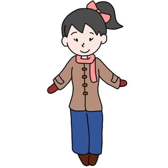 Pony Tail girl (coat + pants)