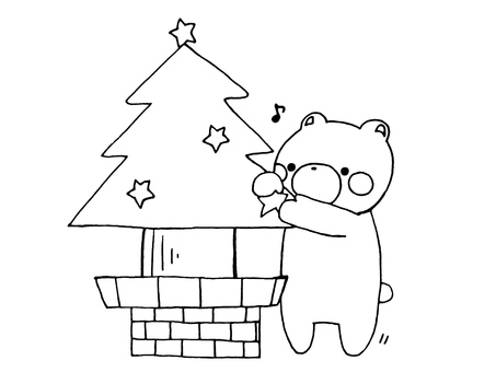 Kuma and Christmas tree 1 of 1