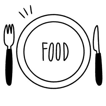 Plate, fork, knife, character 2