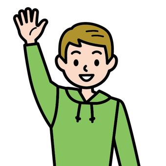 一隻手舉起一個男孩