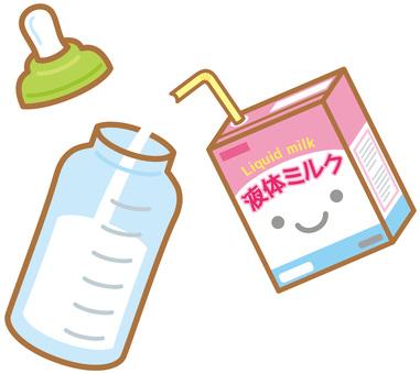 Pour liquid milk into baby bottle (paper pack)