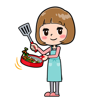 Pink clothes young woman cooking cook