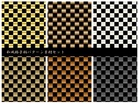 Japanese style lattice pattern pattern material set