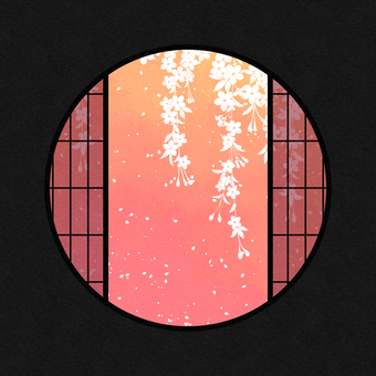 Watercolor round window material cherry blossom / pink