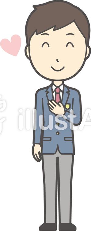 高校生ブレザー男性-190-全身のイラスト