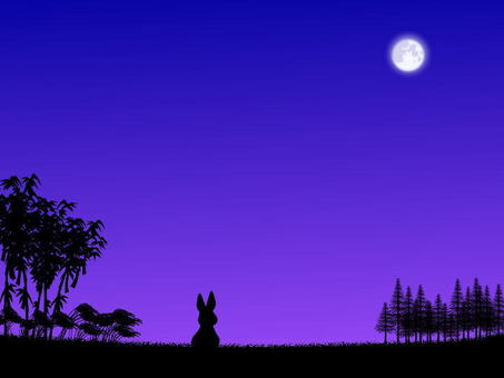 Mid autumn moon and rabbit