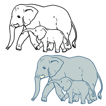 Parent and child of an elephant