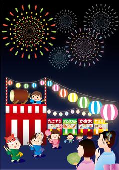 Summer festival firework display A template