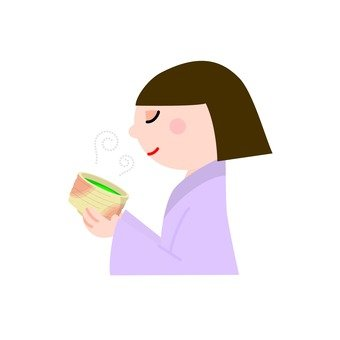 A woman who drinks green tea