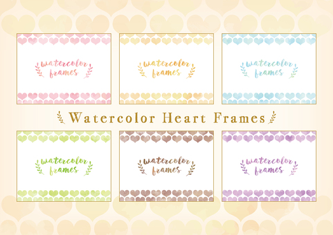 Heart pattern frame set with watercolor touch