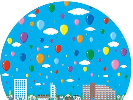 Balloons Townscape Streets Buildings