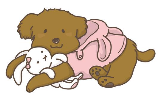 Dog playing with stuffed animals