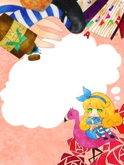 Alice frame in wonderland speech bubble