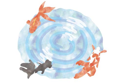 Watercolor wind goldfish