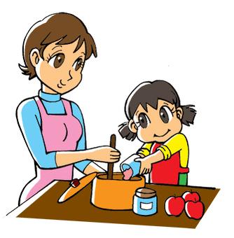 Parent and child making jam