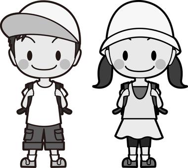 초등학생의 남녀 흑백