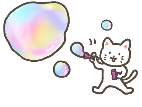 A cat blowing soap bubbles
