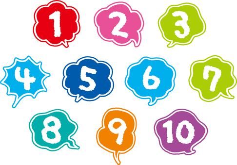 一組數字和氣球
