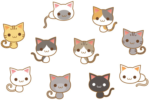 Cute cat characters with various patterns