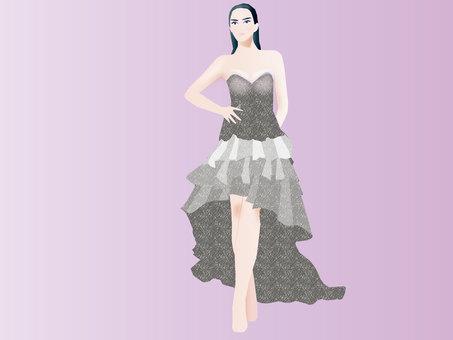 드레스 착용 모델 02